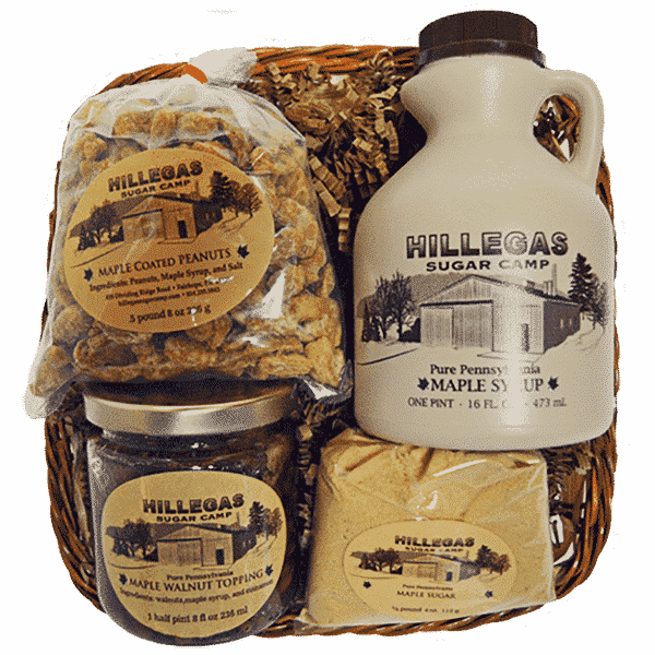 hillegas sugar camp basket peanuts walnut sugar syrup